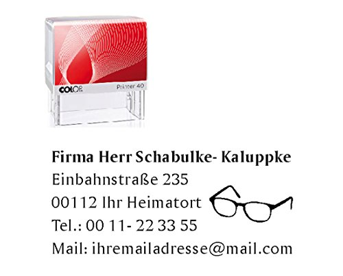 Stempel Firmenstempel « OPTIKER / BRILLE » Automatikstempel mit Motiv - Brillenladen Brillenfachgeschäft Augenarzt