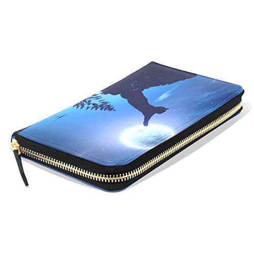 Emoya Damen Geldbörse PU Leder Brieftasche schwarz Katze im springenden Mond Galaxy Reißverschluss Clutch für Frauen -