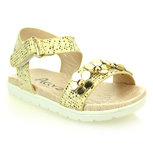Mädchen kinder abend komfort flache sandale schuhe größe (Light (Für Riemchen Ferse Schuhe Mädchen Gold)