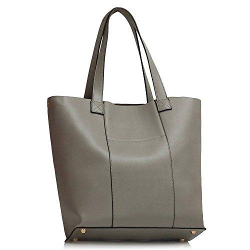 Damen Designertaschen Frauen Neues Promi Stil Kunstleder Schulter Handtaschen Grau