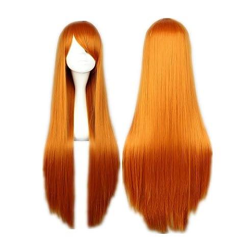 COSPLAZA Cosplay Costume Wigs Perruque EVA Asuka longueley Soryu longue raide orangé 80cm Cheveux
