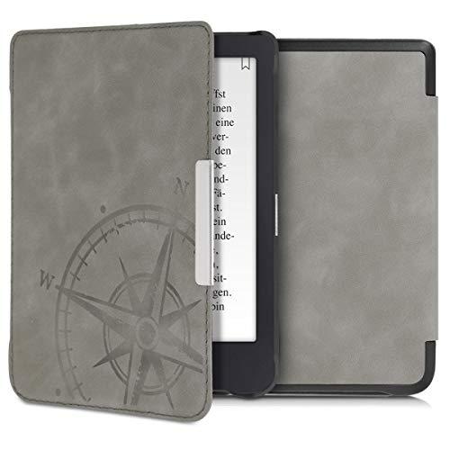 kwmobile Tolino Shine 3 Hülle - Kunstleder eReader Schutzhülle Cover Case für Tolino Shine 3 - - Kompass Vintage Design Grau