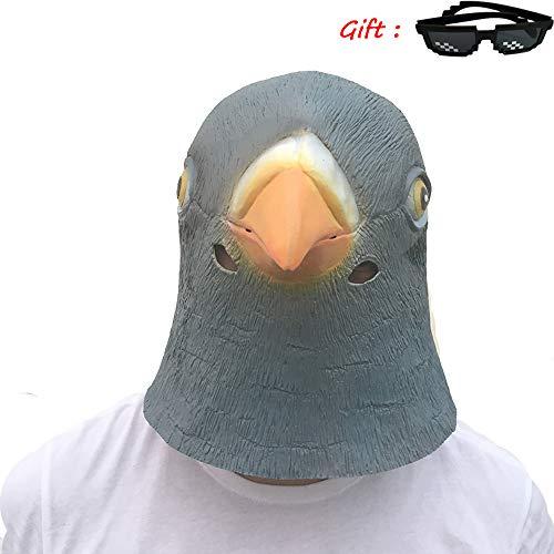 Für Erwachsene Pfau Kostüm Deluxe Größe - Nightghost Vogel Schnabel Maske, Halloween Deluxe Neuheit Halloween Kostüm Party Pfau Taube Papagei Perücke Tier Zoo Helm Für Erwachsene Kinder.