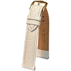 Hirsch Aristocrat M, Leder Uhrenarmband, Weiß, 16mm, Schnalle