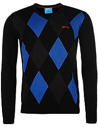 Slazenger Homme Argyle Golf Sweater Manche Longue Jumper Top Haut Col V Sport