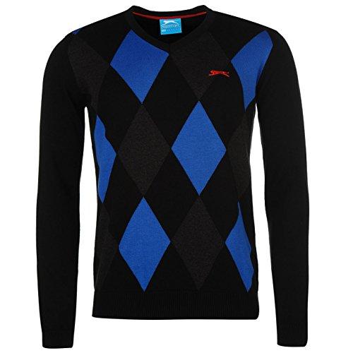 Slazenger Herren Argyle Golf Pullover V Ausschnitt Langarm Muster Baumwolle Schwarz/Königsblau Large (Langarm-pullover Golf)