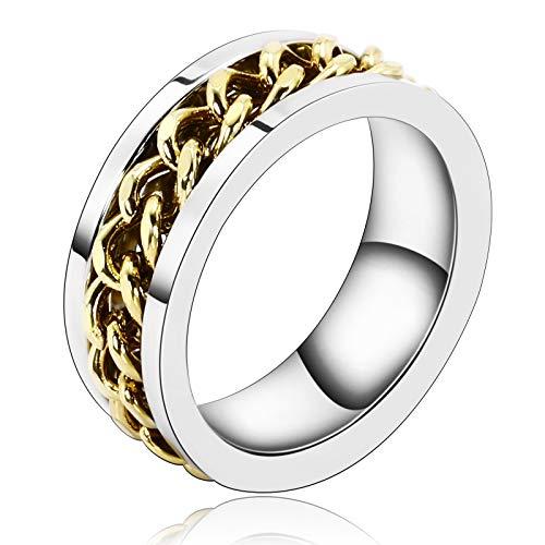 AnazoZ Schmuck Silber Plate Center Kette Damen Wave Weiß Gold Ringe Für Herren Größe 60 (19.1)