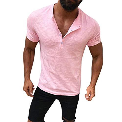 Zolimx T-Shirt Herren Lässige Solide Design Buttons Kurzarm V-Ausschnitt Shirt Top Bluse Ausschnitt Button