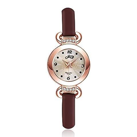 YAZILIND bijoux Classic cuir Band incrustés de quartz grand poignet-montre (1)