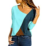 MRULIC Damen Kurzarm T-Shirt Rundhals Ausschnitt Lose Hemd Pullover Sweatshirt Oberteil Tops (EU-40/CN-L, A-Blau)
