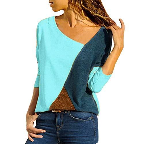 MRULIC Damen Kurzarm T-Shirt Rundhals Ausschnitt Lose Hemd Pullover Sweatshirt Oberteil Tops (EU-38/CN-M, A-Blau)