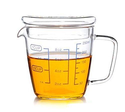 W. Dragón cocina laboratorio 16oz vaso de cristal taza de medir con tapa 2tazas, vidrio, 1 Cup