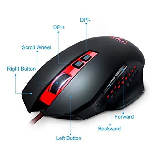 Cymas 16400 DPI Laser Gaming Maus 8 Tasten Programmierbare Gaming Mouse mit verstellbarem DPI (16400/8200/4000/2000/1000), einstellbare LED Hintergrundbeleuchtung -