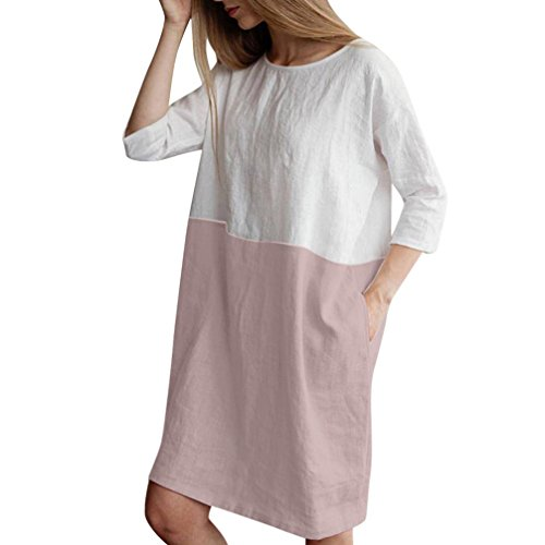 TEBAISE Mid Season Mode Frauen Outdoor Dating Home Party Casual Patchwork 1/2 Ärmeln Baumwolle Leinen Lose Taschen Tunika Kleid ()