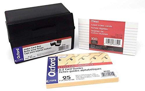 Oxford Kunststoff Karteikasten (01351) Paket mit A-Z Index Karte Guides (B5325) und 100Stück liniert Index Karten 7,6x 12,7cm (63350) -