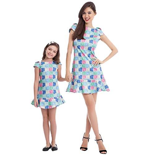 Xmansky Partnerlook Mutter und Tochter Karikatur Kleid, Familie ausgestattet Sommer beiläufige Kurzarm Karikatur Druck Kleidungs Kleidung Strandrock