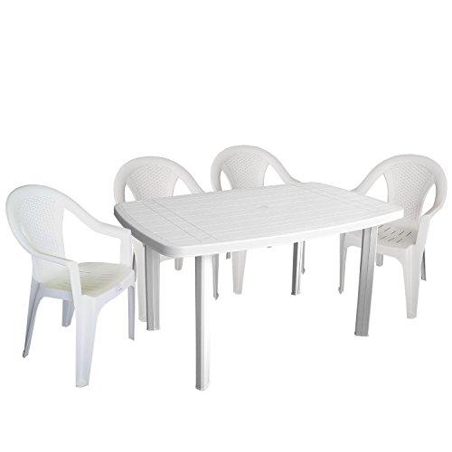 Einfaches Set 4+1 Kunststoff in Weiß