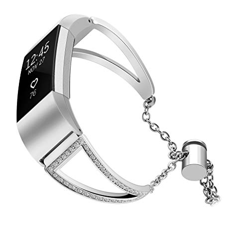 SYY Kompatibel für Apple Watch Armband, Edelstahl Netz Milanese Schlaufen Armband mit Displayschutz Schlankes case für Fitbit Charge 2 (Silber)