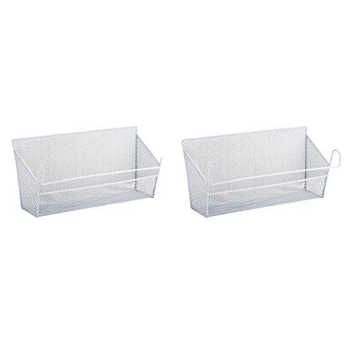 BLJRGS 2 Stück Regalein hängekorb,Nachttisch Hänge Lagerbehälter Regale Korb Lagerhalter Größe 39*10*18cm (Weiß)
