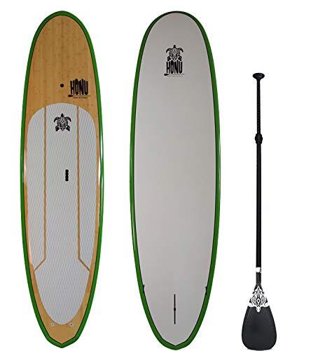 HONU Stand Up Paddle 9'8 - Sup mit Rame und Deriven, Bambus-Finish Bamboo Paddle Board