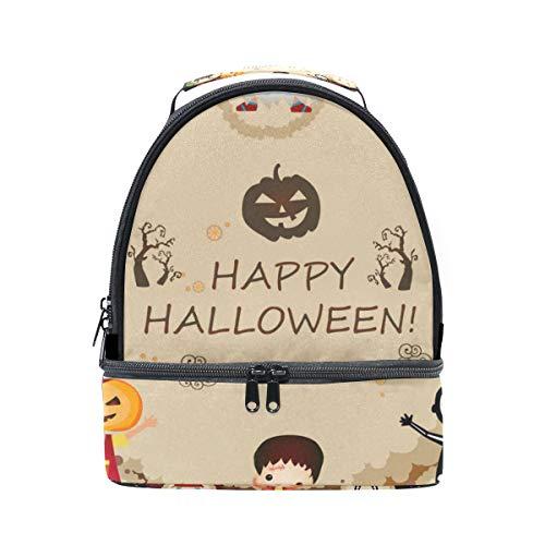 TIZORAX Happy Halloween Kürbis-Lunchtasche, isoliert, Picknick-Tasche, Schule, Kühltasche für Männer und Frauen