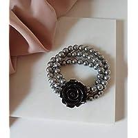 Bracciale Multifilo con Perle di Majorca Grigie e Rosa