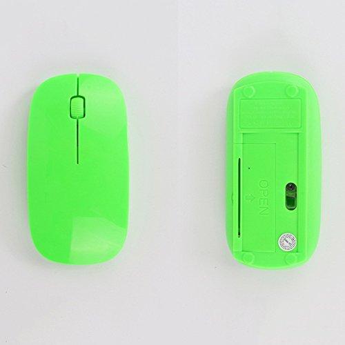Preisvergleich Produktbild spritech (TM) optischen Slim batteriebetrieben Kabellose Maus mit Nano Empfänger für Laptop Desktop Netbook PCS, grün, Einheitsgröße