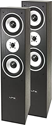 LTC Multicav 3-way stand speaker boxes (500 Watt PMPO, bass reflex, woofer, 1 pair), black from LTC