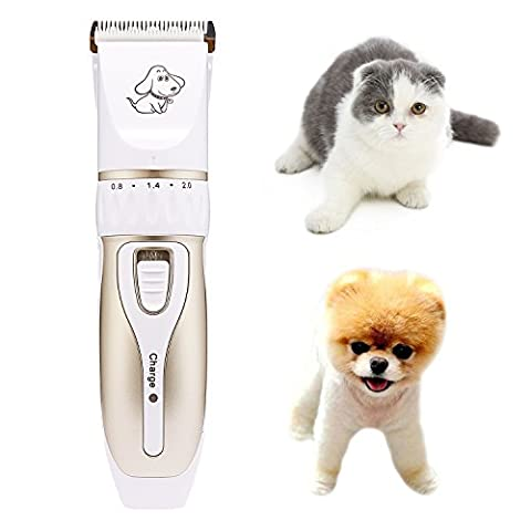 Electric Dog Grooming Clippers ,YIODU Low Noise Professional Rechargeable Electric Pet Hair Shaver Grooming Kit Cordless Charge Animal Hair Cutter Shaver Trimmer Machine Fur Grooming Set with Pet Nail Scissors ,Pet Nail File For Dog Cat Rabbit