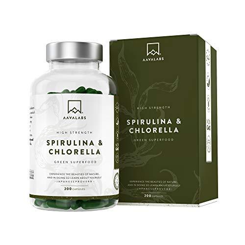 Cápsulas de Espirulina y Chlorella [1800 mg/Dosis Diaria] 180 Comprimidos - Fuente de...