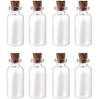 AlphaAcc - Kit di mini bottiglie in vetro con tappo in sughero, dimensioni 3,81cm altezza x 1,9cm diametro., Vetro, 12,