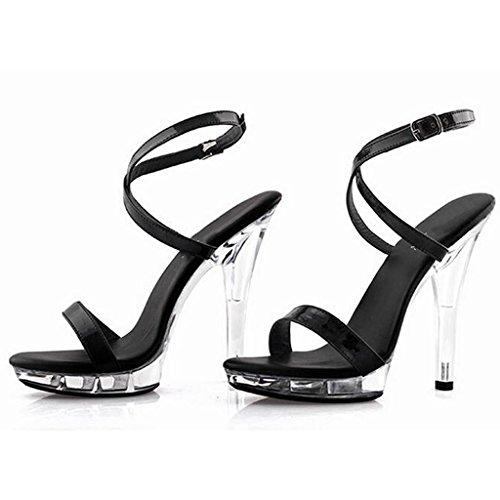 W&LMTacchi alti sandali Scarpe di cristallo Fibbia legata Scarpe Sandali da lavoro Banchetti Hall Sandali 15cm Black