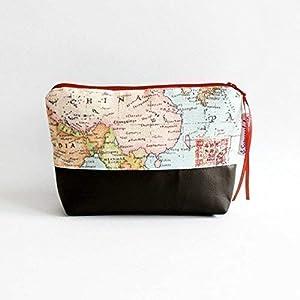 2cb1cfda3fe06 Kulturtasche Kosmetiktasche Schminktasche Weltenbummler aus Stoff mit  Reißverschluss
