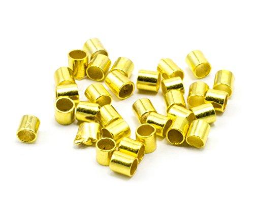 Cousin Jewelry Basics 500STK zudrücken Tube Gold, 2mm -