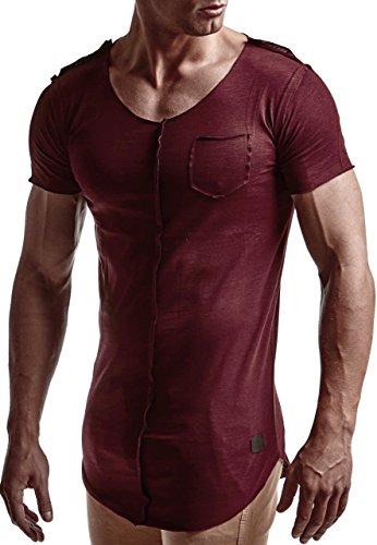 LEIF NELSON Herren oversize T-Shirt Rundhals Basic Shirt Top Crew Neck  LN6288 Bordeaux