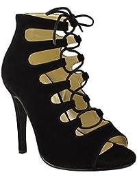 Sandales A Bout Ouvert Avec Talons Aiguilles / A Lacets Pour Femmes - Style spartiate