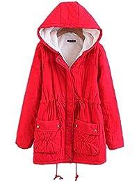 Abrigo caliente Chaqueta con capucha de abrigo de lana sintética de algodón  abrigos largos de invierno 4a93a492ff57