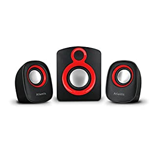 Atlantis Land Soundmaster 900 2.1Kanäle 7W Schwarz, Rot Lautsprecherset - Lautsprechersets (2.1 Kanäle, 7 W, PC, Schwarz, Rot, Kunststoff, Drehregler)