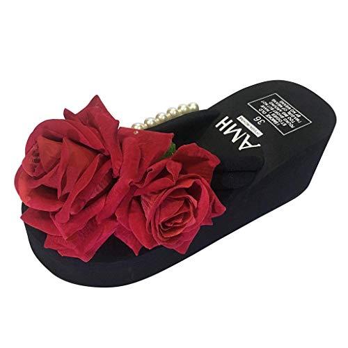 B-commerce Frauen Damen Mädchen Perle Floral Wedges Flip Flops Wedges Wasserdichte Plattform Sandalen Flache Wiht Hausschuhe Strandschuhe