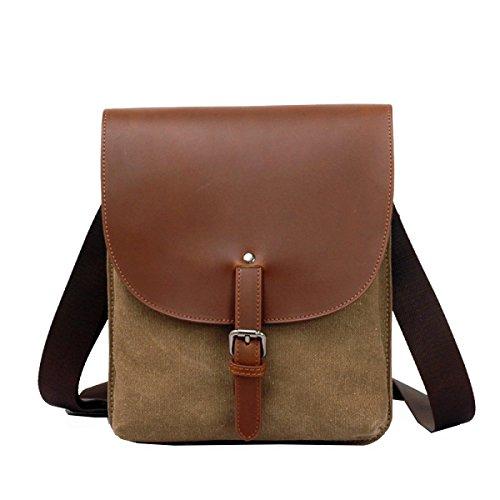 Yy.f Männer Segeltuchtasche Schultertasche Koreanische Rucksack Sport Messenger Bag Tägliche Tasche Arbeit Schule Täglichen Gebrauch Khaki