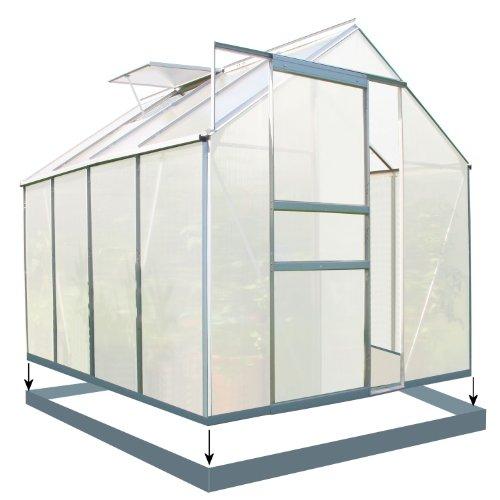 Zelsius - 4,75m² Aluminium Gewächshaus, Garten Treibhaus, 6 mm Hohlkammerstegplatten, inkl. Stahl-Fundament-Rahmen