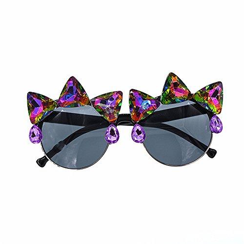 Melodycp Sonnenbrille Retro Vintage Baroque Sonnenbrille für Frauen Persönlichkeit Crystal Cat Eyes Sonnenbrille Rahmen Sonnenbrille Lady's Personality Beach Sonnenbrille Sonnenbrillen für Damen