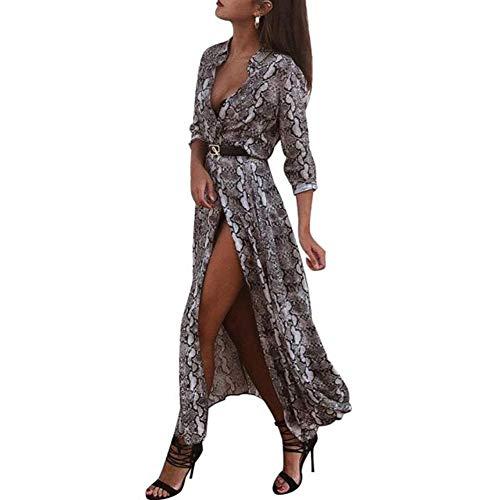 Vestido de Playa para Mujer, Estampado de Piel de Serpiente, Cuello en V, Sexy, de Manga Larga, para Fiestas, con cinturón Dividido, Gris, Small