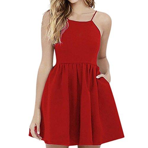 Schulterfrei Strandkleid Sommer Boho Mini Maxi Kleid Damen Halfter Casual Täglichen Urlaub Arbeit Strand Party Shirt Kleid(Rot, EU-42/CN-L) (Second Hand Kostüme)