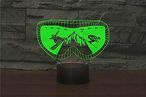 3D Ski Brille Nachtlicht Lampe 7 Farbwechsel Led Touch Usb Tisch Geschenk Kinder Spielzeug Dekor Dekorationen Weihnachten Valentines Geschenk Geburtstagsgeschenk Fernbedienung