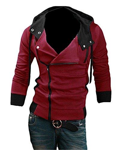 6 Farbe Herren Jungen Cosplay Kostüme Hoodie mit Schrägem Reißverschluss Modische Jacke (EU XL ( Tag XXXL), red)