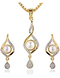 SKN Silver And Golden American Diamond Pearl Pendant Set With Box Chain For Women & Girls (SKN-1140)