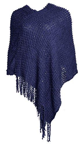 Glamexx24 Poncho da donna felpe cappotto maglione maglione con frangette Blu BB