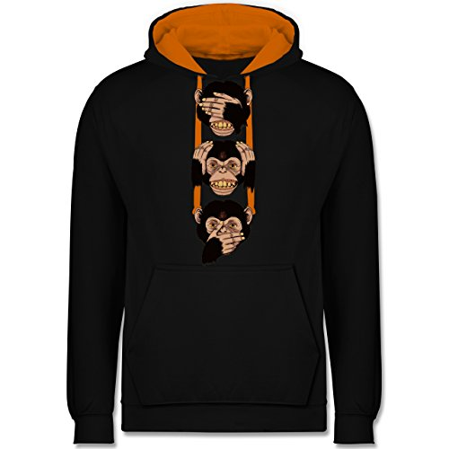 Statement Shirts - Drei Affen - Sanzaru - Kontrast Hoodie Schwarz/Orange