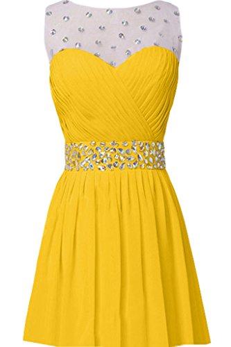 Missdressy Damen Elegant Chiffon Lang Schleppe Tuell Steine Faltenwurf Abendkleider Partykleider Hochzeitsgast kleider Golden-1